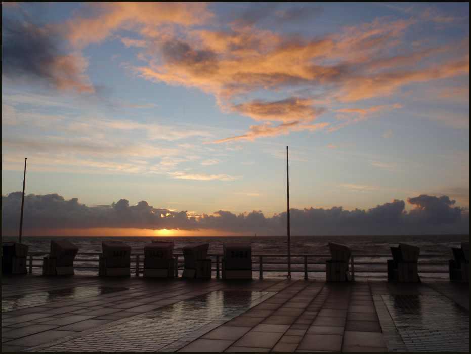 Sonnenuntergang Promenade Westerland