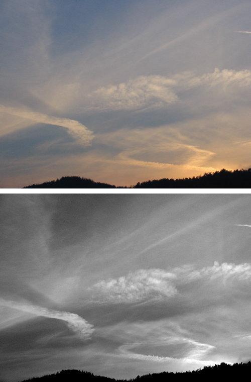 Sonnenuntergang Schwarz-Weiß