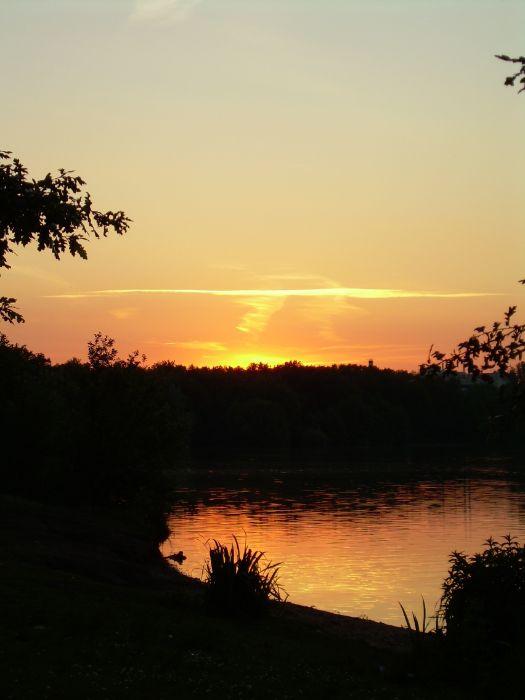 Sonnenuntergang Sechs-Seen-Platte im Sommer