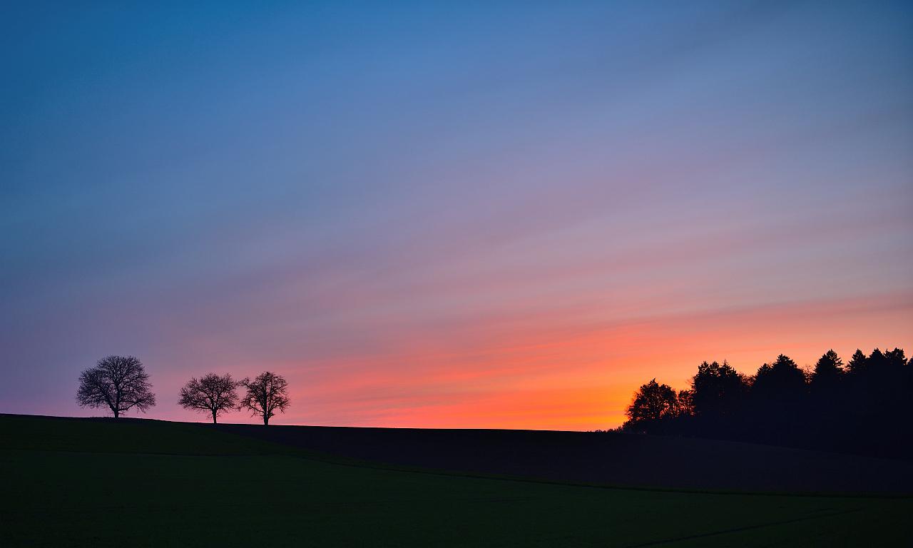 Sonnenuntergang,  Sunset, puesta del sol Kraichtal