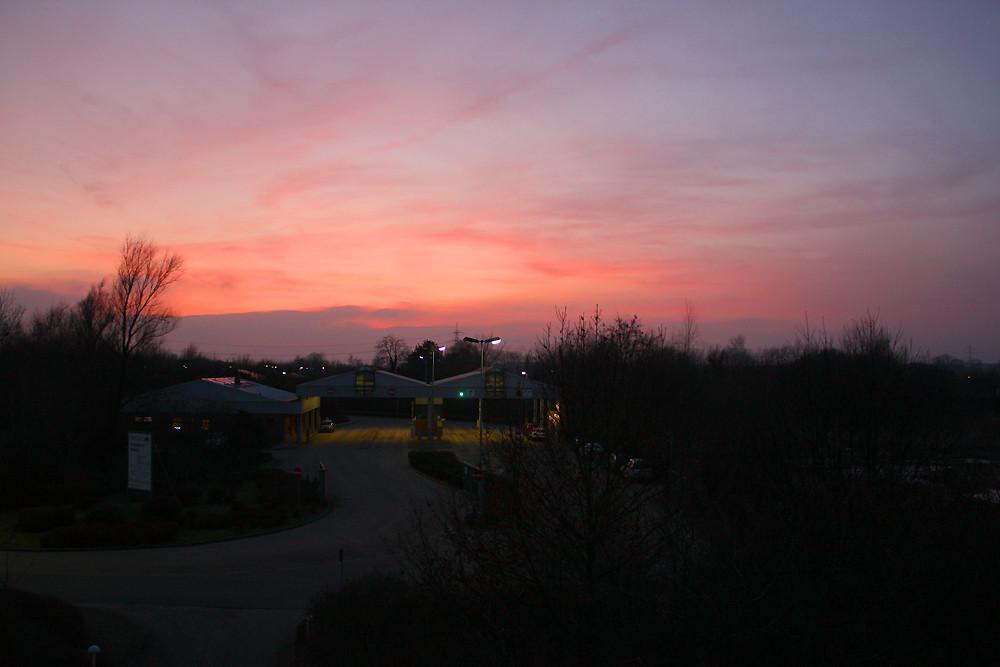 Sonnenuntergang über dem Entsorgungszentrum Schaumburg