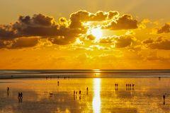 Sonnenuntergang über dem Wattenmeer ...