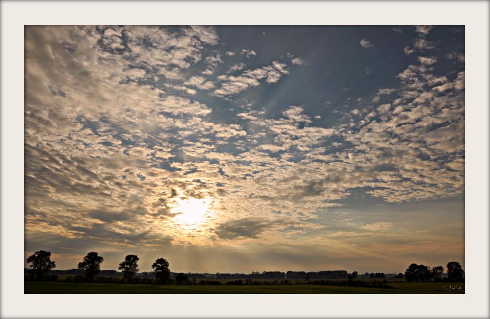 Sonnenuntergang über den Kranichwiesen