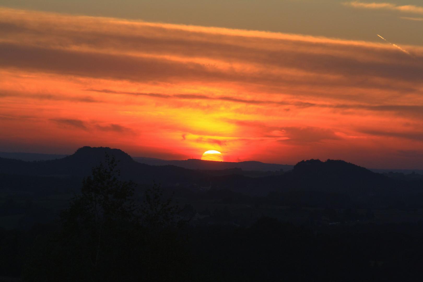 Sonnenuntergang über der Sächsischen Schweiz