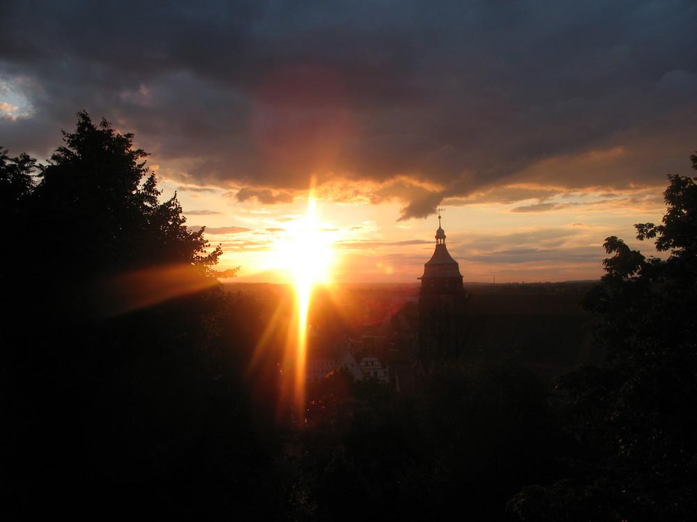 Sonnenuntergang über Pirna
