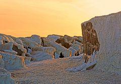 Sonnenuntergang und Eis