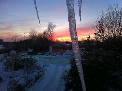 Sonnenuntergang und Eiszapfen