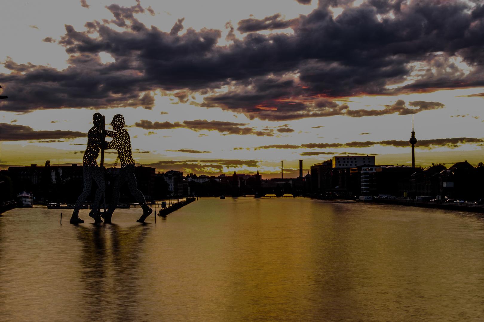 Sonnenuntergang von der Elsenbrücke aus