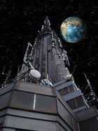 Spaceship ESB-1 approaching earth