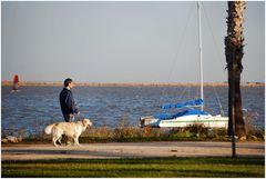 Spaziergang mit dem Hund.