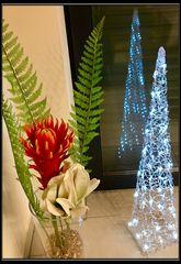 Spiegeltag- Blume mit Lichterdeko