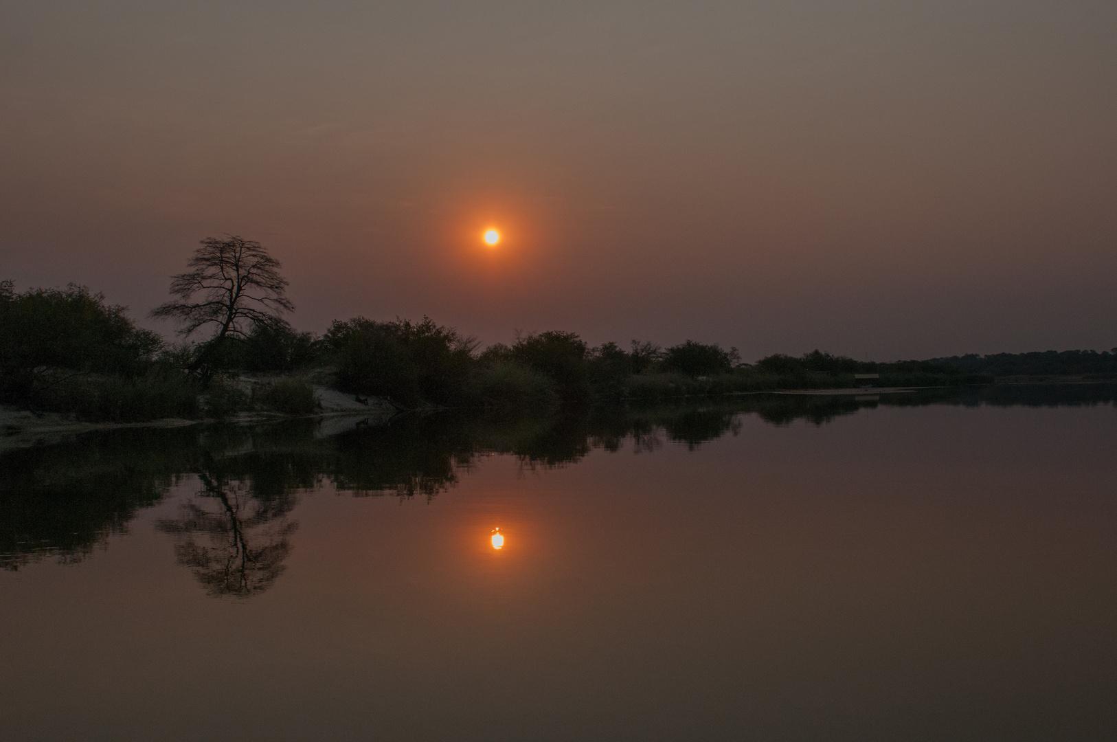 Spiegelung auf dem Okavango bei Rundu