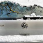 Spiegelung auf dem verschneiten Golfplatz