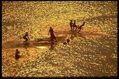 Spielende Kinder im Mekong in Südlaos