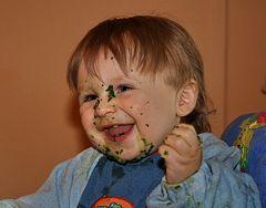 Spinat essen is gar nich so einfach...aber spassig!!