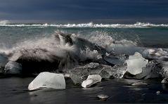 splashing against the ice