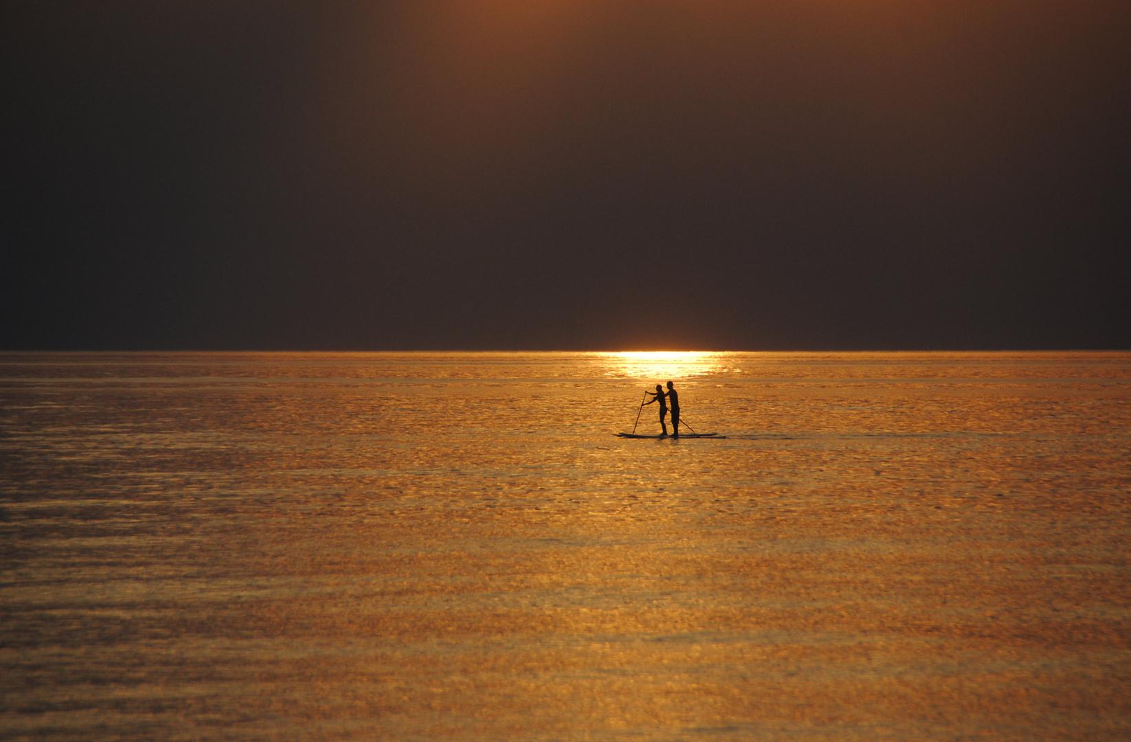 Sportlicher Ausflug in den Sonnenuntergang