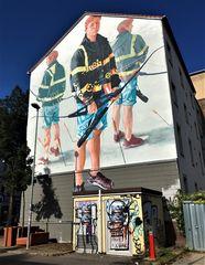 Sportschützen auf der Wand