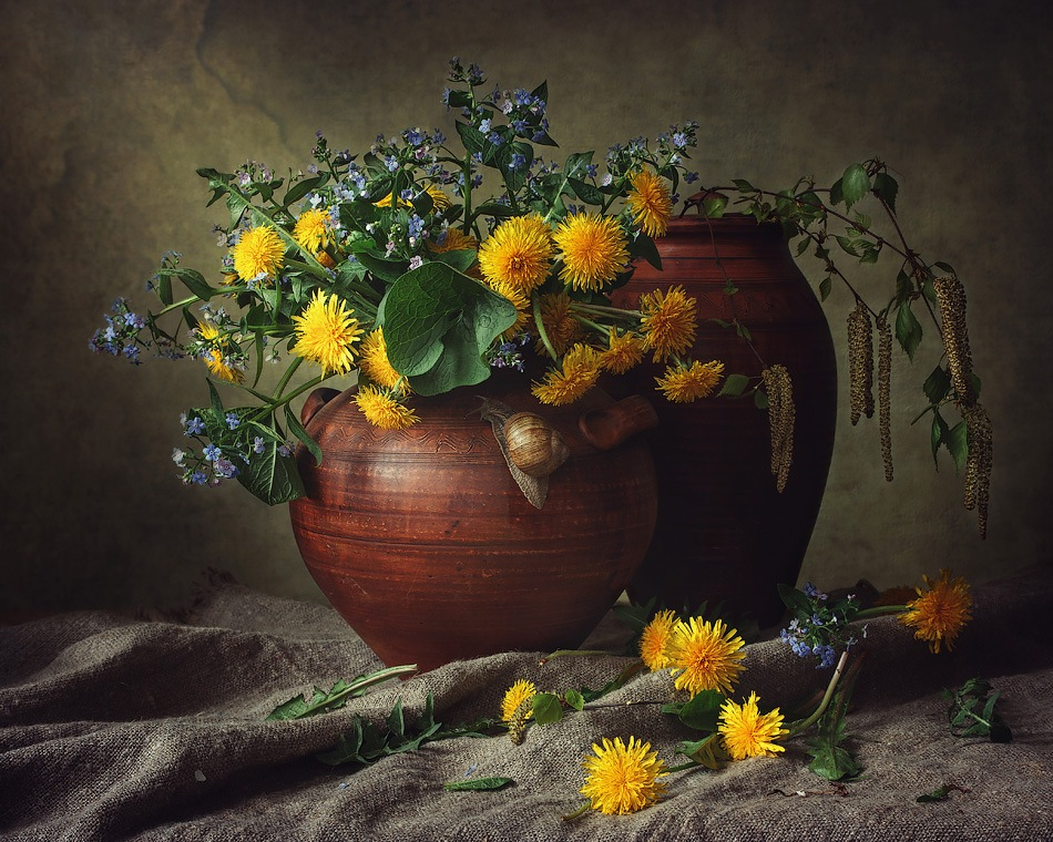 Spring still life with a snail