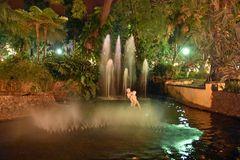 Springbrunnen am Abend im Jardim Municipal in Funchal