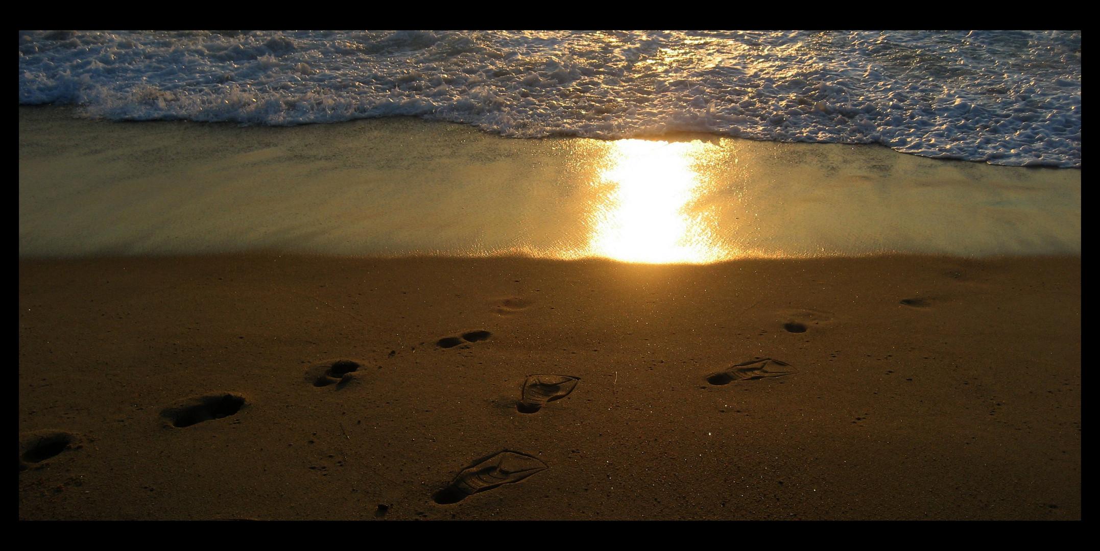 Spuren die im Sand verlaufen