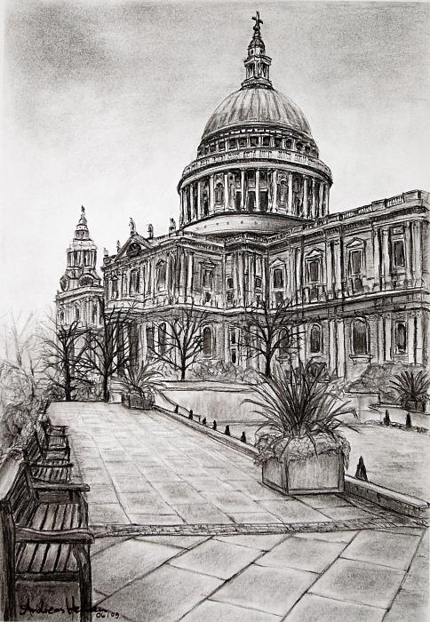 St. Pauls Cathedral (Kohlezeichnung)