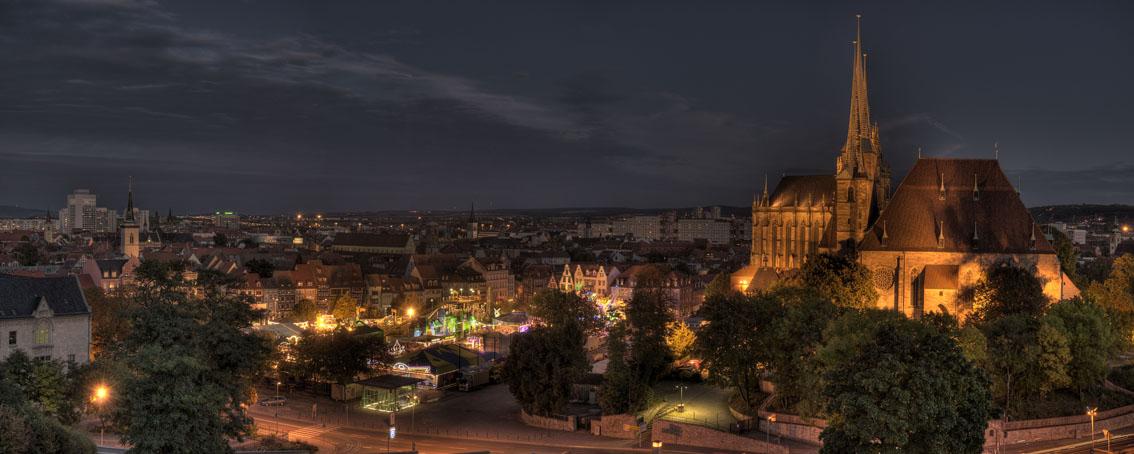 Stadtansicht Erfurt bei Nacht