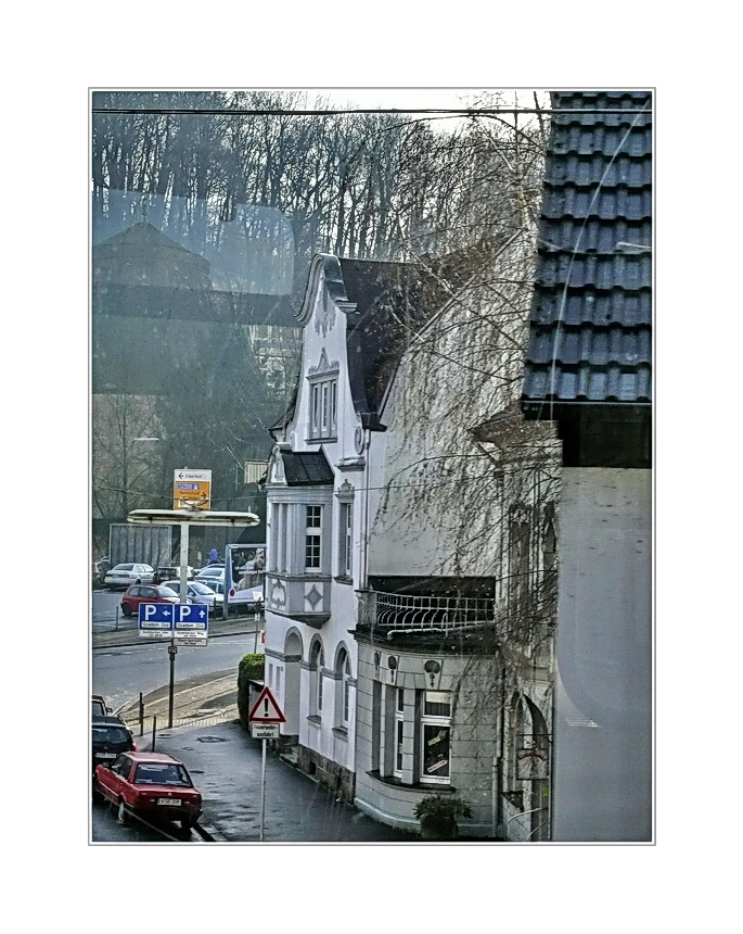 Stadtbild 55 ... while looking out the window, riding over the street in Wuppertal Sonnborn