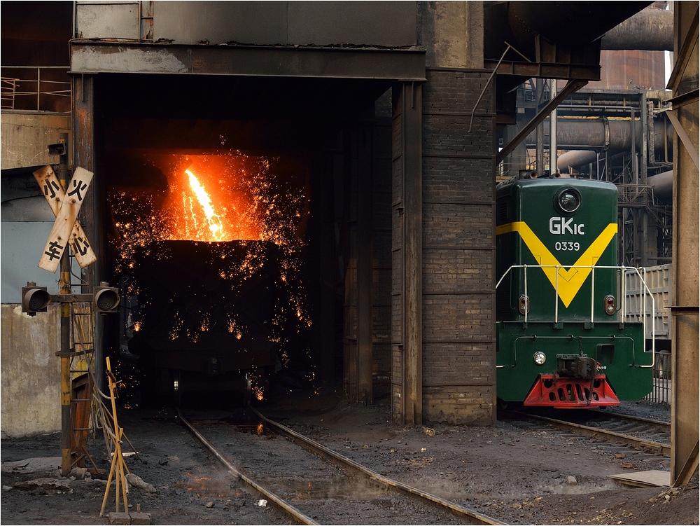 Stahlwerksdiesel am Roheisenabstich