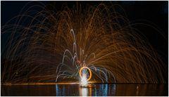 Stahlwolle und Feuerwerk