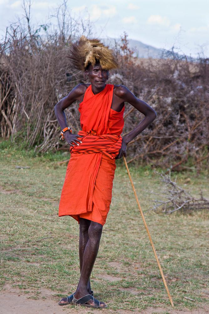 Stammesältester eines Masai Dorfes