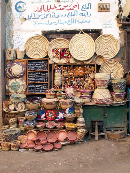 Stand auf dem Markt in Luxor