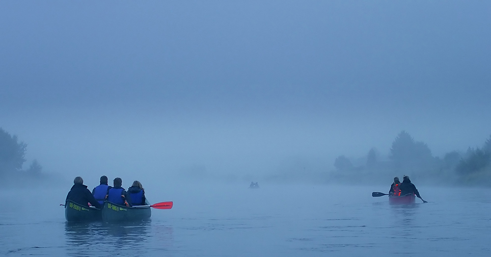Start in den Nebel... (1. der Serie: Im Kanu auf der Weser)