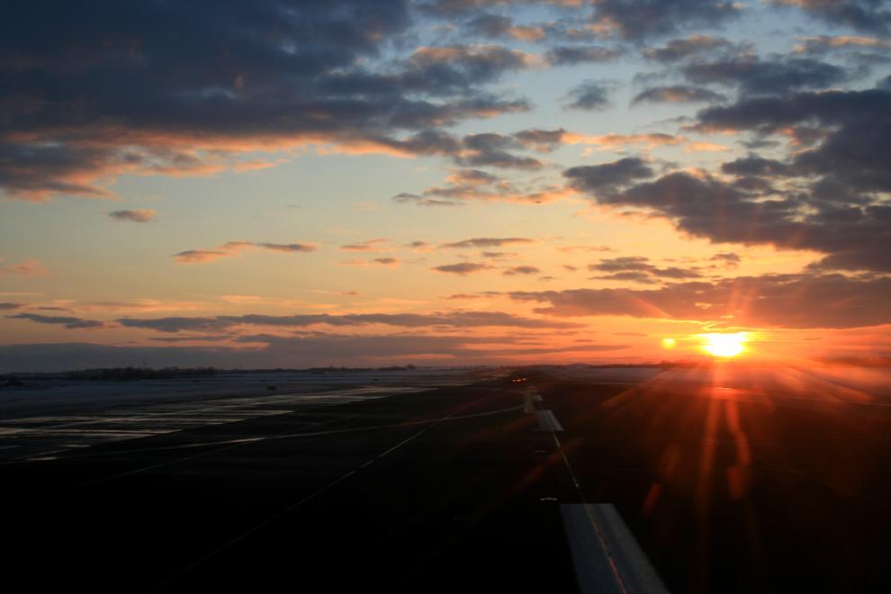Start in den Sonnenuntergang