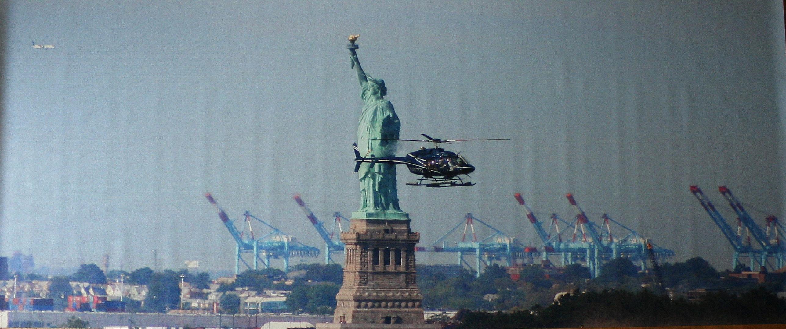 Statue of Liberty greets heli, New York City