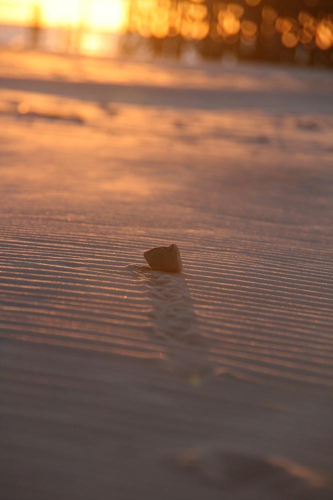 Stein in der Abendsonne