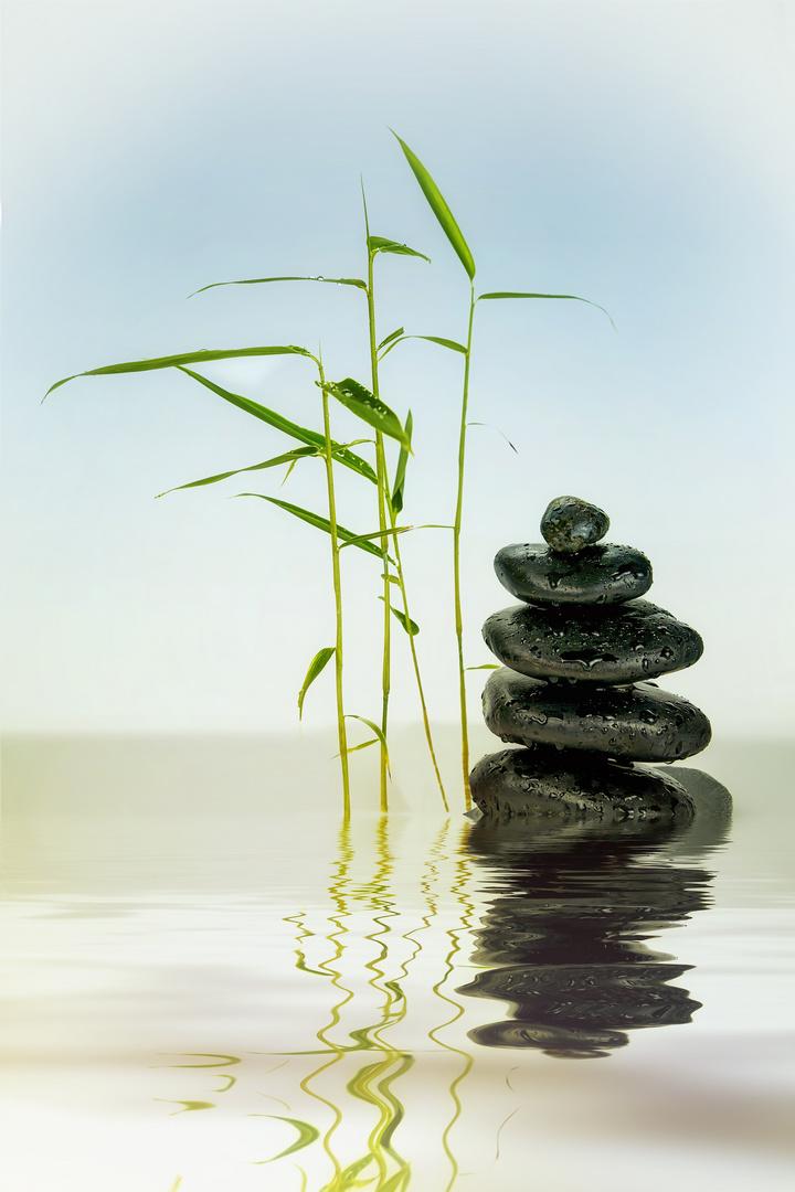 Steine mit Bambus im Wasser