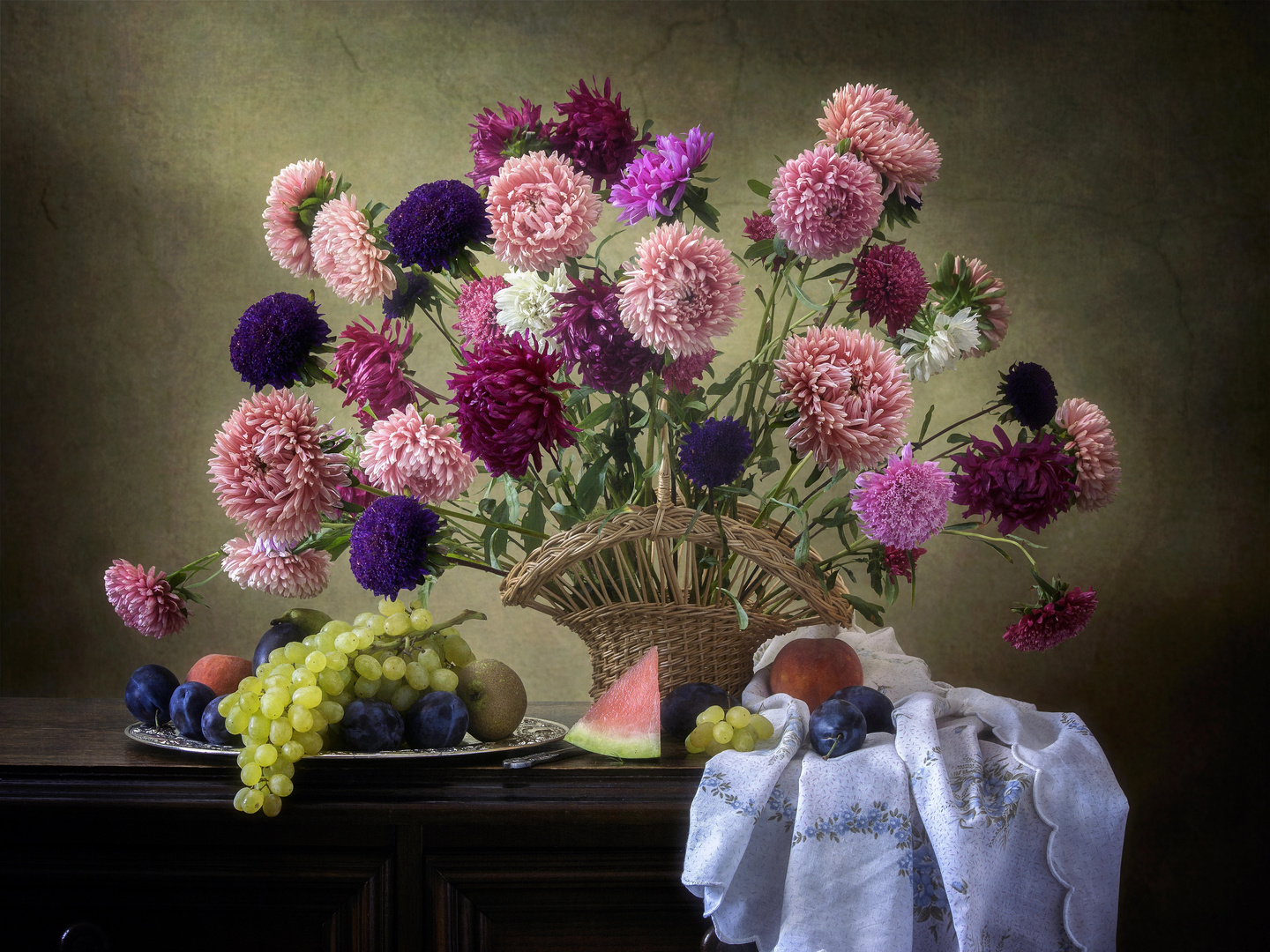 Still life with basket of aster flowers