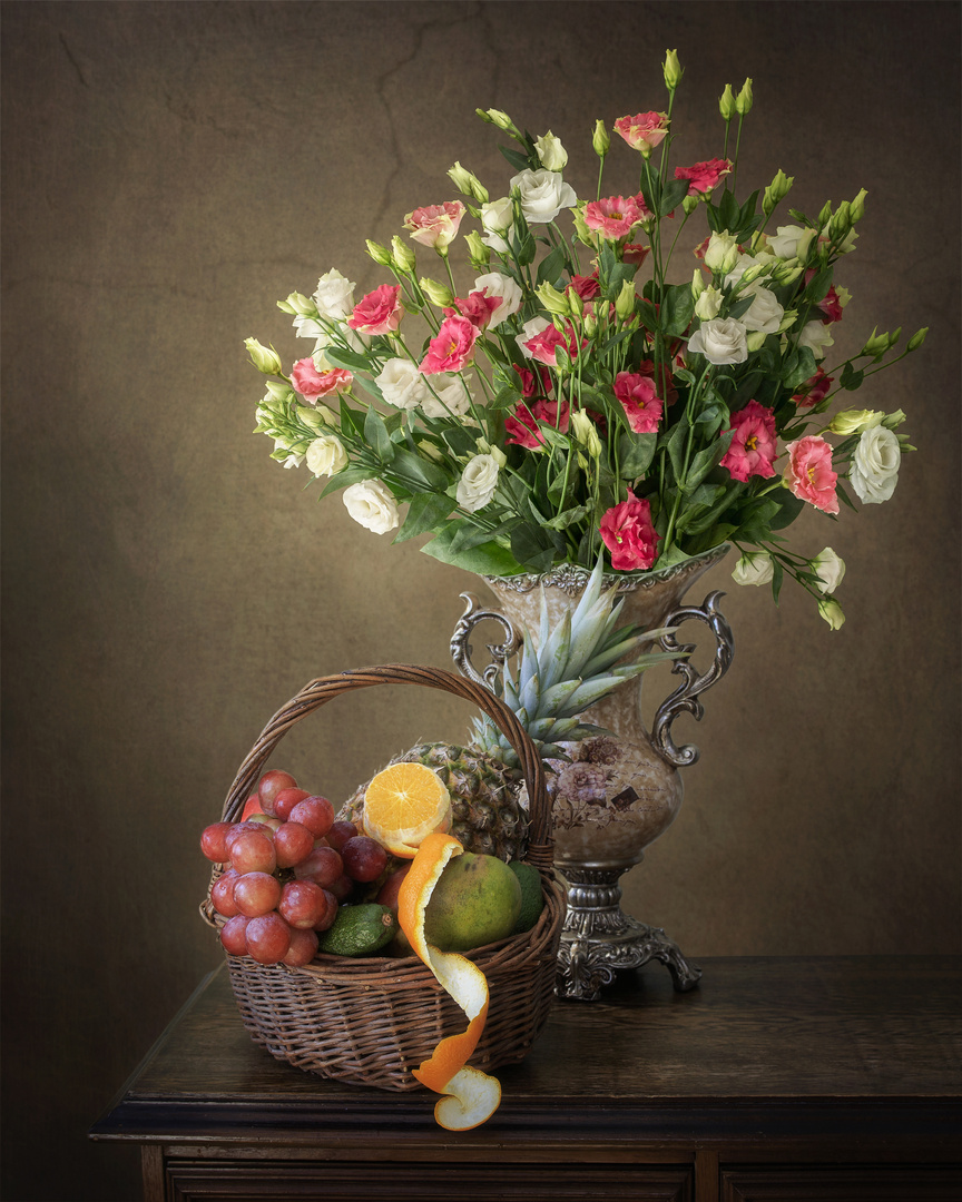 Still life with bouquet and fruits