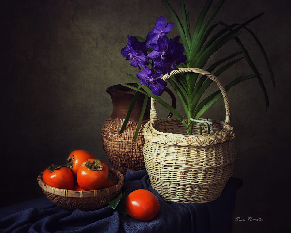 Still life with orchid Vanda and persimmon