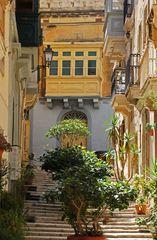 Stille Gasse schön begrünt auf Malta