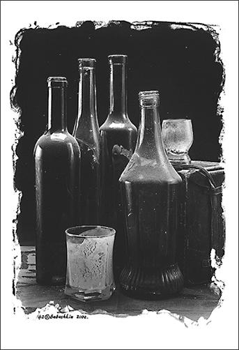 Stilleben mit gebrauchtem Glas.
