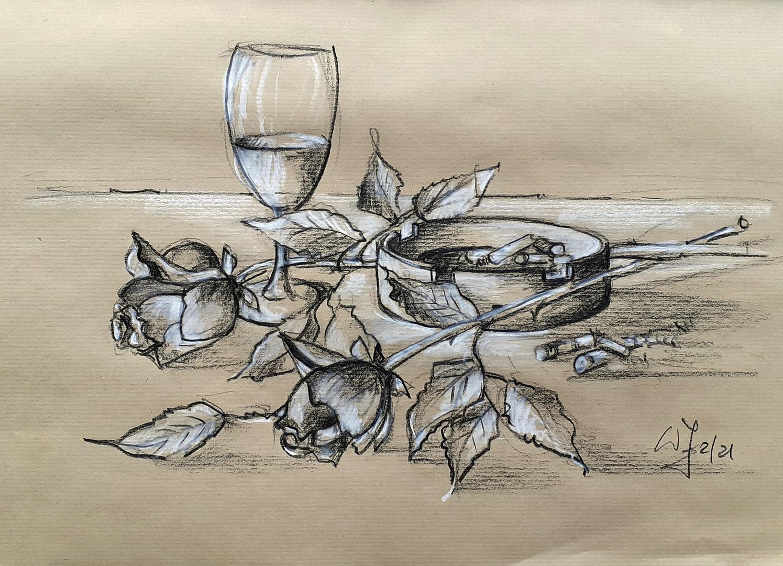 Stillleben ...2 Rosen mit Glas