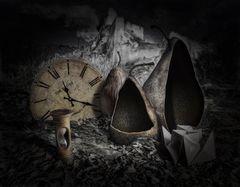 Stillleben mit Birnen und Uhren
