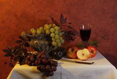 Stillleben mit Rotwein