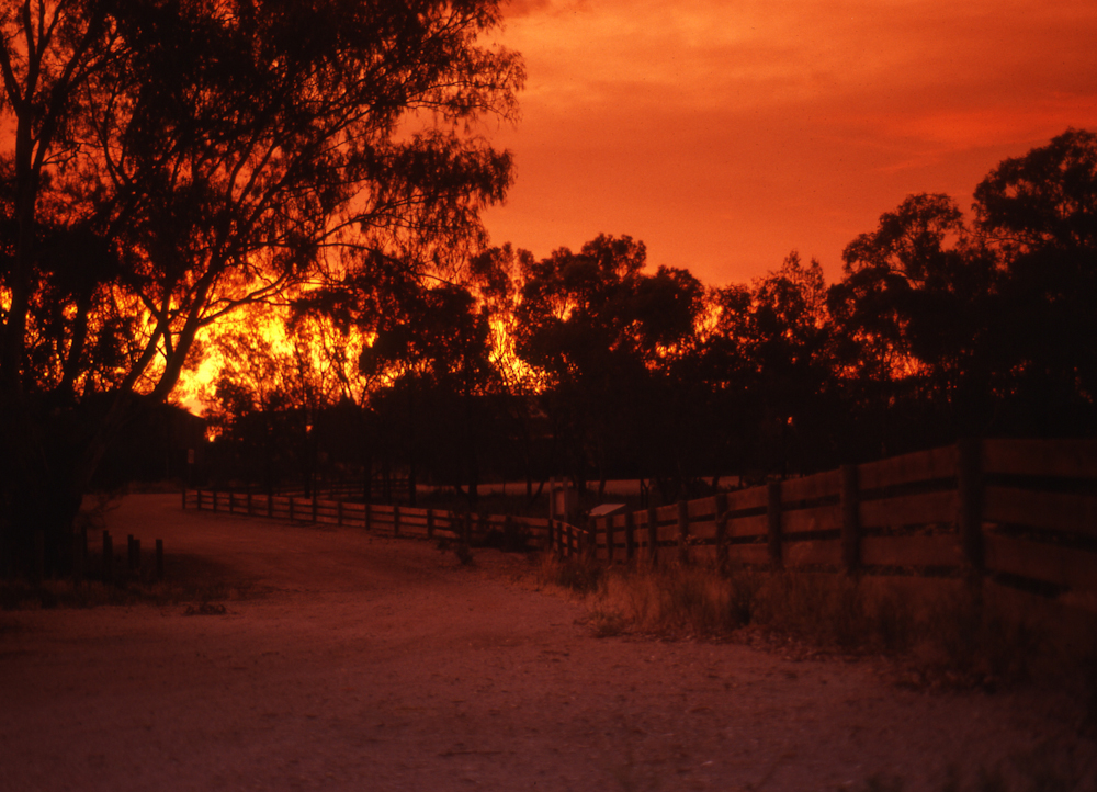 Stockyards at sunset