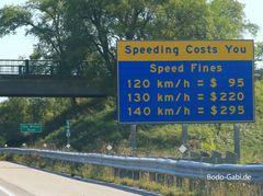 Strafen für Überschreitzung der Höchstgeschwindigkeit