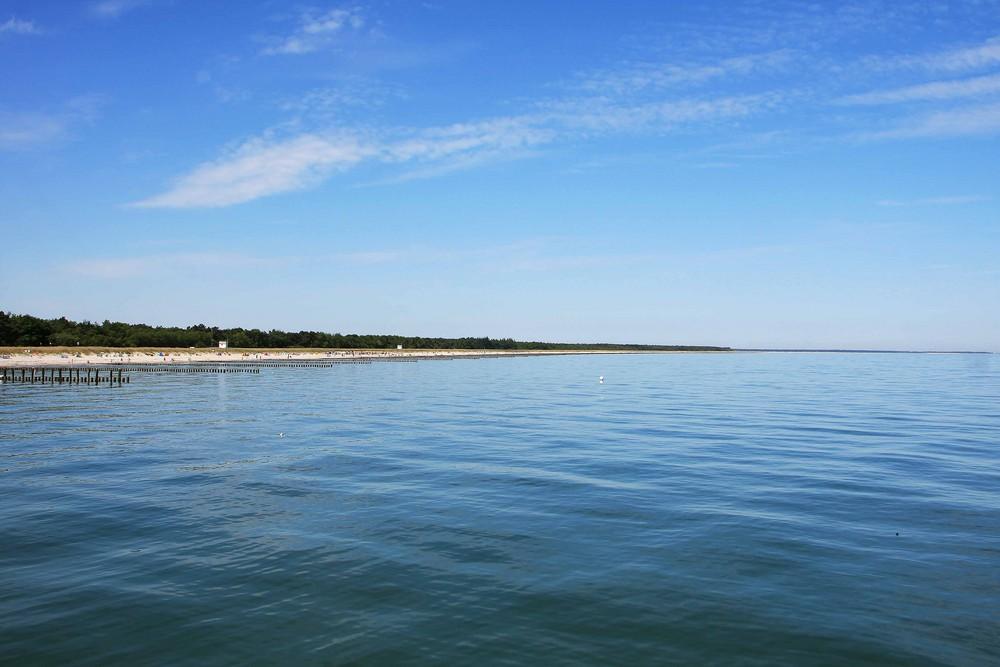 Strand von der SeeBrücke Zingst aus