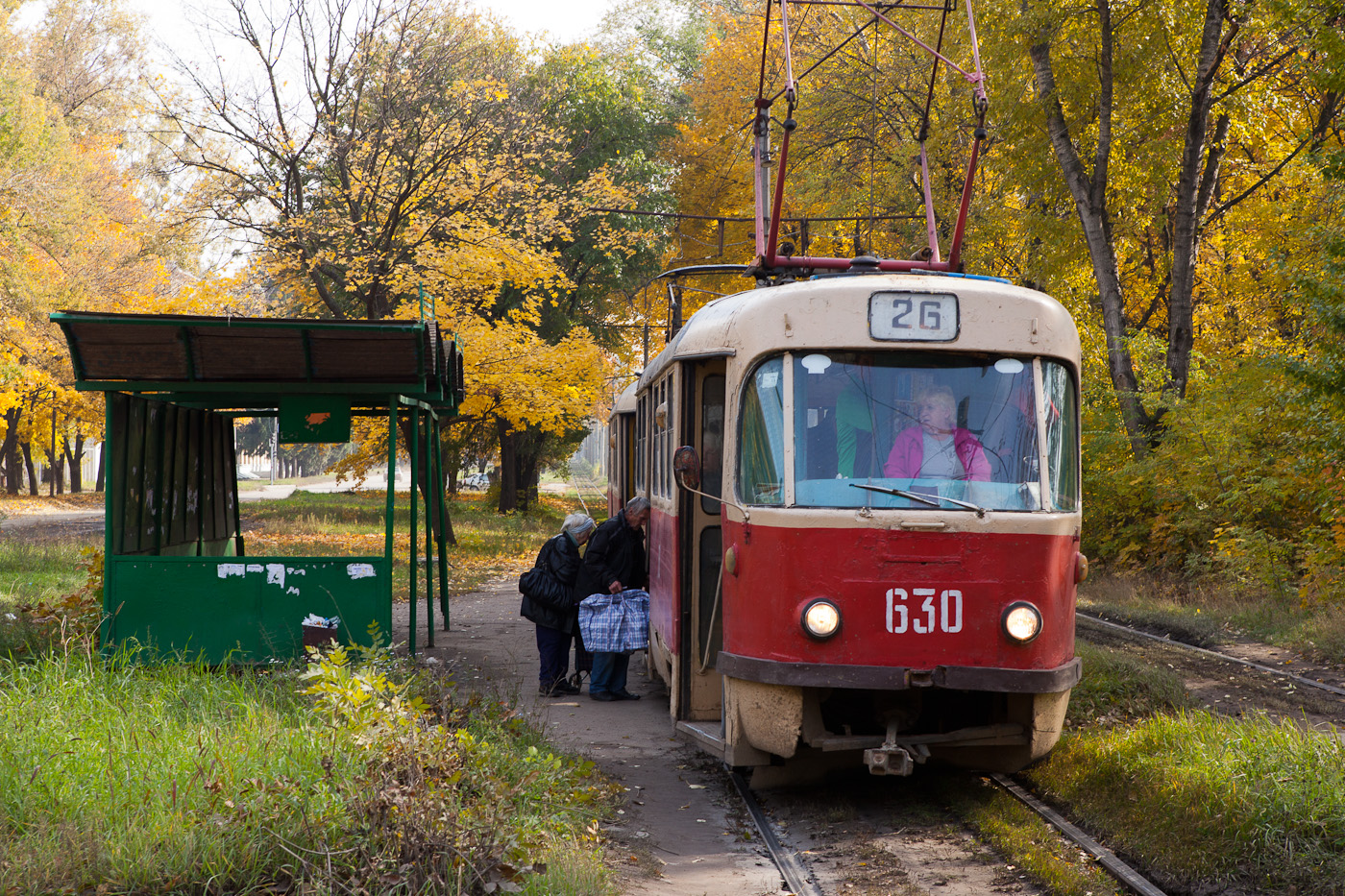 Strassenbahnwagen an einer Haltestelle im Wald