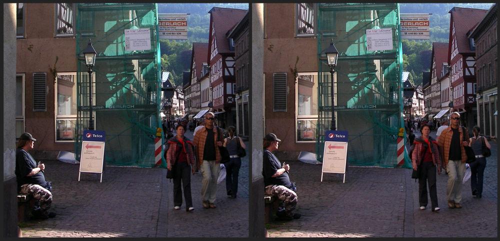 Straßenszene in Miltenberg
